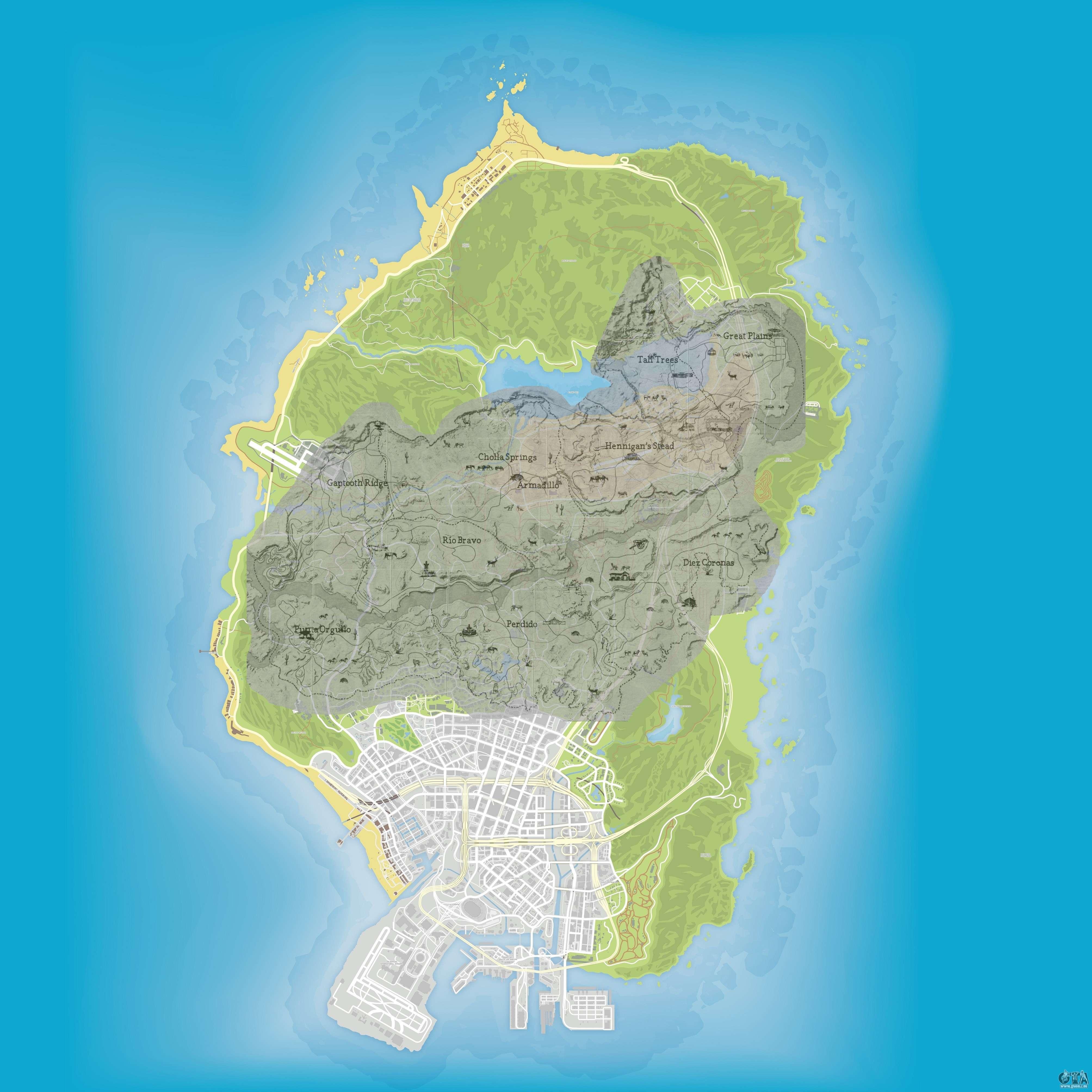 taille carte red dead redemption 2 Comparaison de la taille de la map de GTA 5