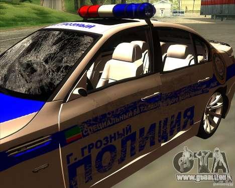 BMW M5 E60 Police pour GTA San Andreas vue de dessous