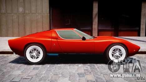 Lamborghini Miura P400 1966 pour GTA 4 Vue arrière de la gauche