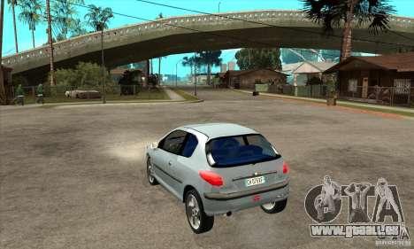 Peugeot 206 pour GTA San Andreas sur la vue arrière gauche