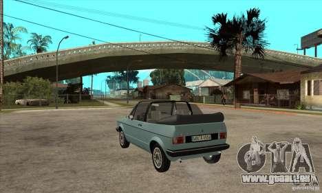 Volkswagen Golf Mk1 Cabrio für GTA San Andreas zurück linke Ansicht
