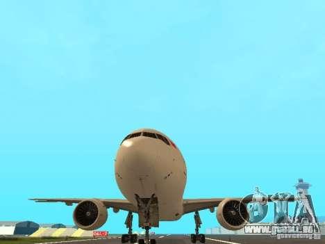 Boeing 777-200 Singapore Airlines pour GTA San Andreas vue intérieure