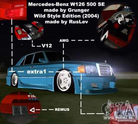 Mercedes-Benz W126 Wild Stile Edition für GTA Vice City Innenansicht