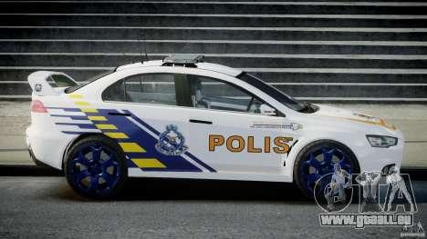 Mitsubishi Evolution X Police Car [ELS] für GTA 4 linke Ansicht