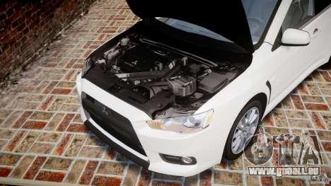 Mitsubishi Lancer Evolution X pour GTA 4 est une vue de l'intérieur