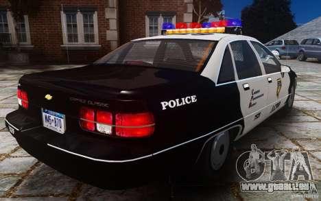 Chevrolet Caprice 1991 Police pour GTA 4 Vue arrière