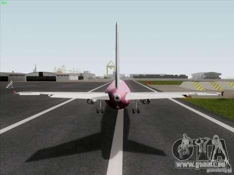 Airbus A319 Spirit of T-Mobile für GTA San Andreas zurück linke Ansicht