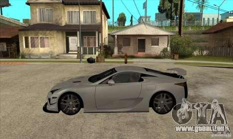 Lexus LFA 2010 pour GTA San Andreas laissé vue