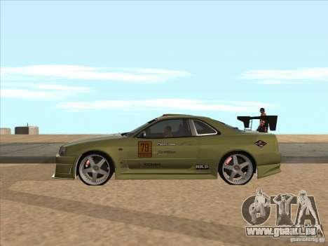 Nissan Skyline R34 VeilSide pour GTA San Andreas vue de dessous