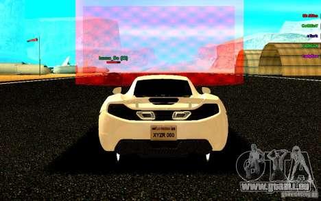 McLaren MP4-12C 2011 für GTA San Andreas zurück linke Ansicht