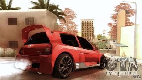 Renault Clio V6 Sport Track Car für GTA San Andreas zurück linke Ansicht