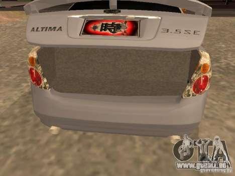 NISSAN ALTIMA pour GTA San Andreas vue arrière