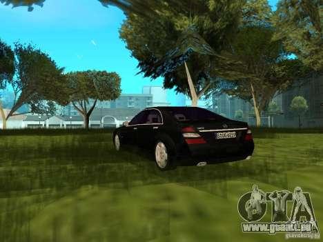 Mercedes Benz S600 pour GTA San Andreas sur la vue arrière gauche