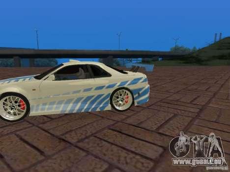 Nissan Skyline GT-R R34 Tunable für GTA San Andreas obere Ansicht