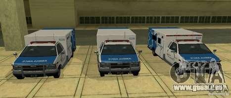 Krankenwagen von GTA 4 für GTA San Andreas zurück linke Ansicht