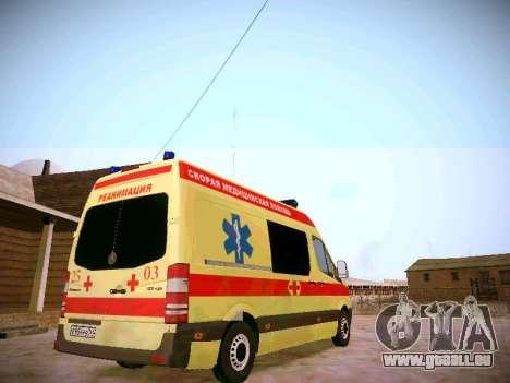 Mercedes Benz Sprinter Ambulance pour GTA San Andreas vue de droite