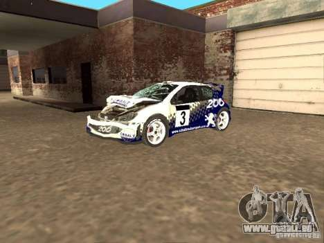 Peugeot 206 WRC de Richard Burns Rally pour GTA San Andreas vue de côté