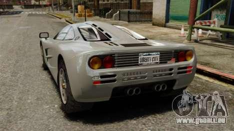 McLaren F1 1995 pour GTA 4 Vue arrière de la gauche