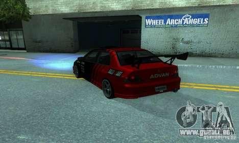 Mitsubishi Lancer Evo 8 Tunable pour GTA San Andreas sur la vue arrière gauche