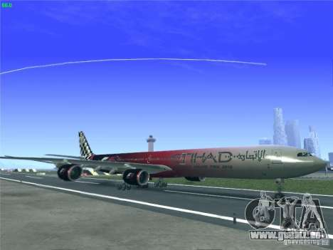 Airbus A340-600 Etihad Airways F1 Livrey für GTA San Andreas linke Ansicht
