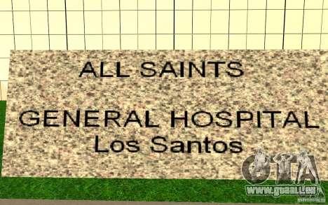 UGP Moscow New General Hospital pour GTA San Andreas troisième écran