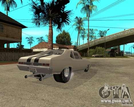 1969 Chevrolet Nova ProStreet Dragger pour GTA San Andreas sur la vue arrière gauche