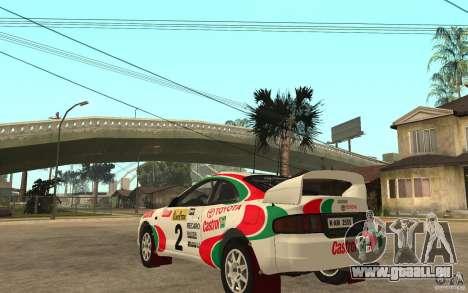 Toyota Celica GT4 DiRT für GTA San Andreas zurück linke Ansicht
