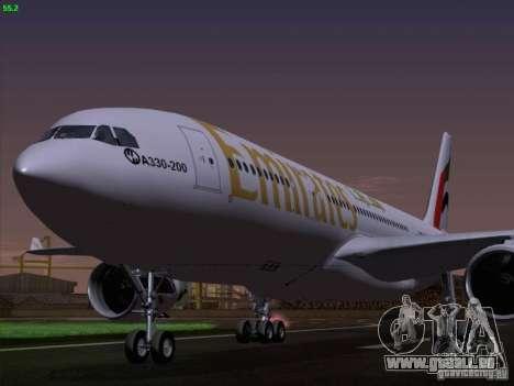 Airbus A330-200 Emirates pour GTA San Andreas vue arrière