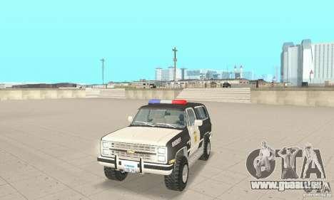 Chevrolet Blazer Sheriff Edition pour GTA San Andreas laissé vue