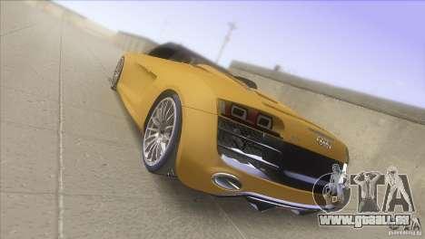 Audi R8 5.2 FSI Spider pour GTA San Andreas sur la vue arrière gauche