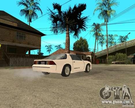 Chevrolet Camaro IROC-Z 1989 pour GTA San Andreas sur la vue arrière gauche
