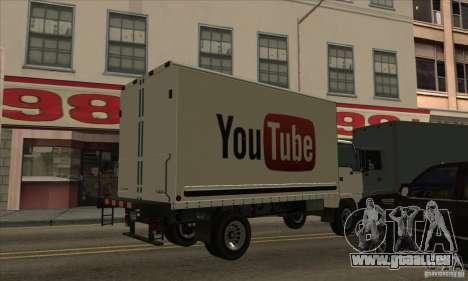 Camion avec logo YouTube pour GTA San Andreas laissé vue