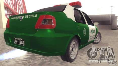 Fiat Siena Carabineros De Chile pour GTA San Andreas sur la vue arrière gauche