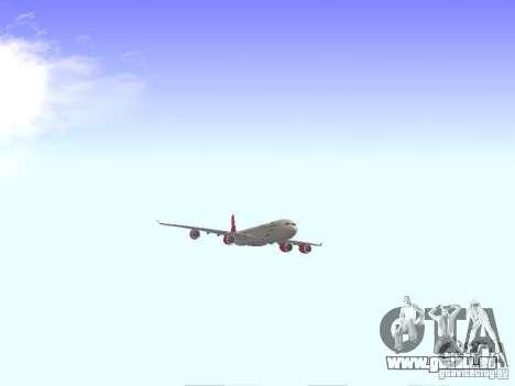 Airbus A340-600 Virgin Atlantic pour GTA San Andreas vue arrière
