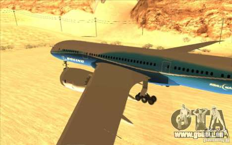 Boeing 787 Dreamlinear pour GTA San Andreas sur la vue arrière gauche