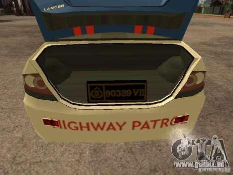 Mitsubishi Lancer Police Indonesia für GTA San Andreas Rückansicht