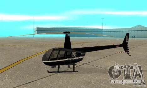 Robinson R44 Raven II NC 1.0 noir pour GTA San Andreas sur la vue arrière gauche
