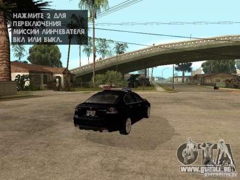 Pontiac G8 GXP Police v2 für GTA San Andreas zurück linke Ansicht