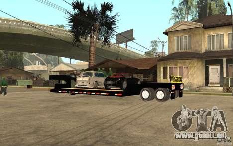 Trailer lowboy transport pour GTA San Andreas laissé vue
