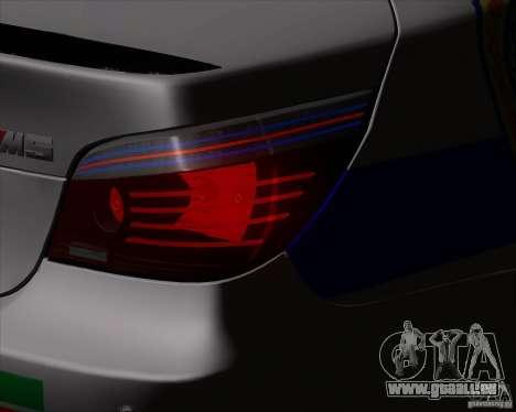 BMW M5 E60 Police pour GTA San Andreas vue arrière