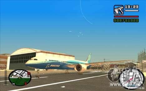 Boeing 787 Dreamlinear für GTA San Andreas linke Ansicht