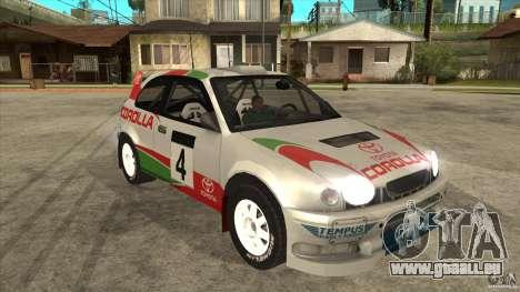 Toyota Corolla 1999 Rally Champion für GTA San Andreas Seitenansicht