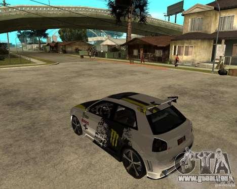 Audi S3 Monster Energy pour GTA San Andreas laissé vue