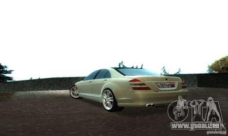 Mercedes-Benz S500 W221 Brabus für GTA San Andreas Rückansicht