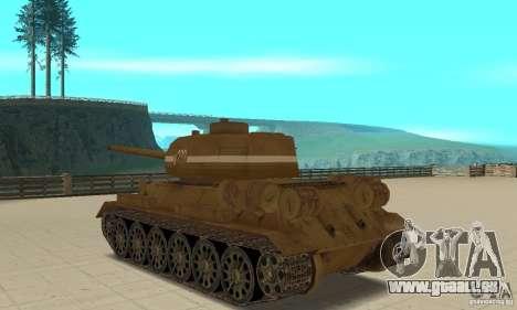Réservoir T-34 pour GTA San Andreas sur la vue arrière gauche