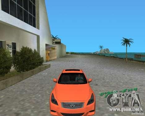 Infinity G37 pour GTA Vice City sur la vue arrière gauche