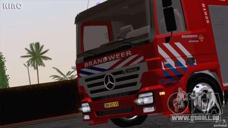Mercedes-Benz Actros Fire Truck pour GTA San Andreas vue arrière