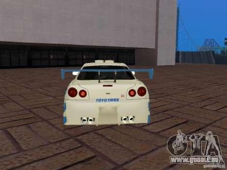 Nissan Skyline GT-R R34 Tunable für GTA San Andreas Unteransicht