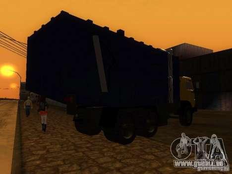 Camion à ordures 53212 KAMAZ pour GTA San Andreas sur la vue arrière gauche