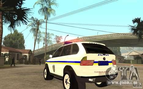 BMW X 5 DAÌ pour GTA San Andreas sur la vue arrière gauche